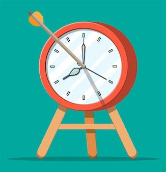 Doel met boogpijl en klok. timemanagement, planning, business targeting en slimme oplossingen. deadline en op tijd concept. vectorillustratie in vlakke stijl