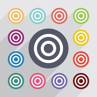 Doel, plat pictogrammen instellen. ronde kleurrijke knopen. vector