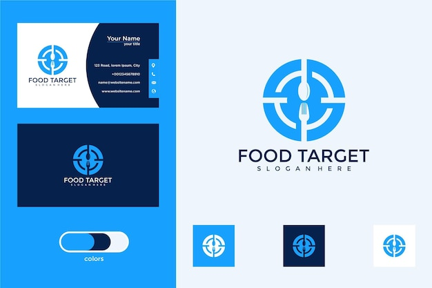 Doel voedsel logo ontwerp en visitekaartje business