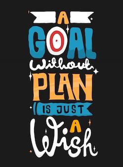 Doel zonder plan is slechts een wens. citaat typografie.
