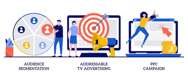 Doelgroepsegmentatie, adresseerbare tv-reclame, ppc-campagneconcept met kleine mensen. gerichte promotie, seo, digitale marketingset. geotargeting, cpc-advertentiemetafoor.