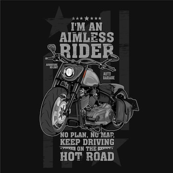 Doelloze rijder, grote motor motorfiets illustratie