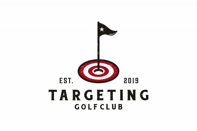 Doelpictogram met golf logo ontwerp