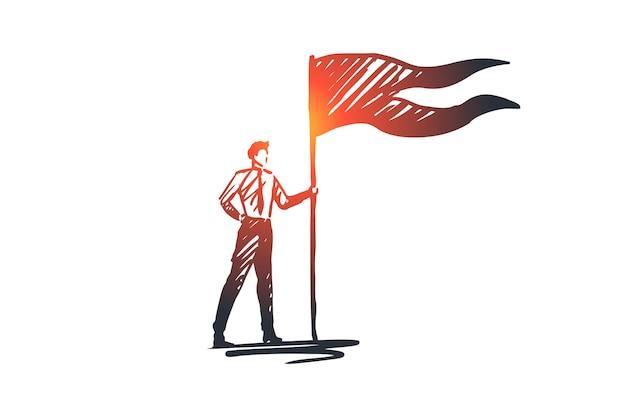 Doelstellingen, vlag, winnaar, succes, leiderconcept. hand getekend succesvolle zakenman met winnaars vlag concept schets.