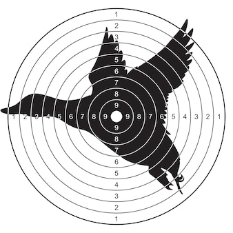 Doelwit met een silhouet van een vliegende eend om te schieten, plinkend