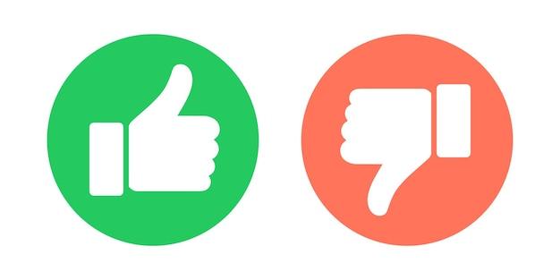 Doen en niet symbolen. duim omhoog en duim omlaag cirkel emblemen. graag en niet leuk pictogrammen instellen. vector