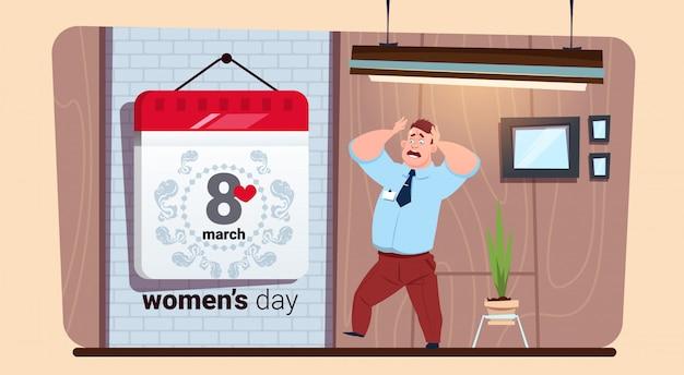 Doen schrikken mens die kalender 8 maart-gelukkige de dag creatieve wenskaart van vrouwen bekijken
