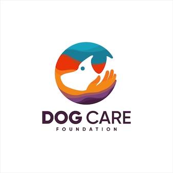 Dog dog care foundation hand kleurrijk logo-ontwerp