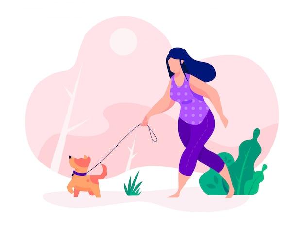 Dog walker womana oefening met dog running outdor