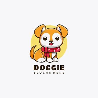 Doggie karakter mascotte logo ontwerp vectorillustratie