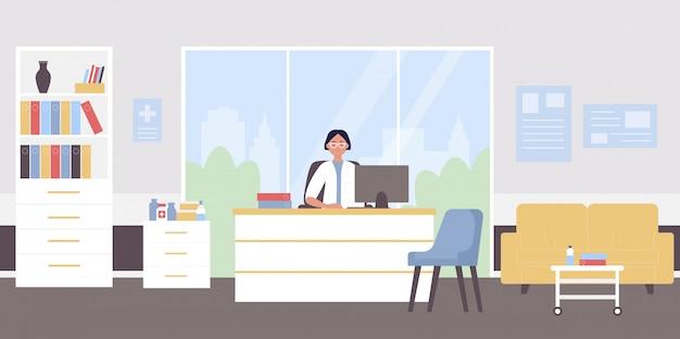 Dokter afspraak vlakke afbeelding. cartoon arts vrouw karakter zittend op doctorale medische werkplek in moderne ziekenhuis kliniek kantoor interieur, arts te wachten op patiënten achtergrond