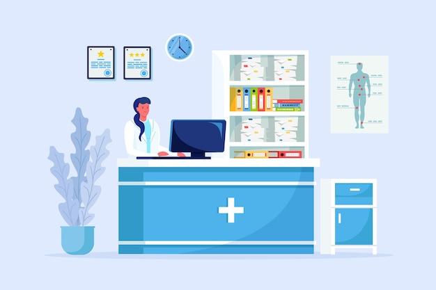 Dokter, arts bij de receptie van het ziekenhuis