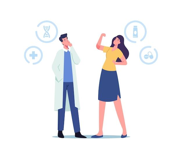 Dokter dermatoloog karakter kijken op meisje toon psoriasis ontsteking op elleboog, auto-immuun huidziekte. dermatologie geneeskunde, ziektebehandeling, gezondheidszorg. cartoon mensen vectorillustratie