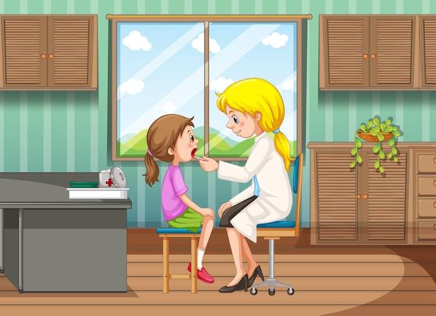 Dokter die behandeling geeft aan meisje in kliniek
