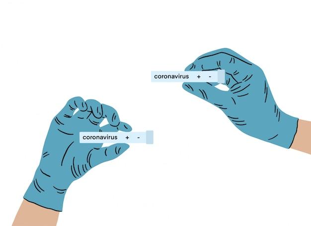 Dokter dient medische handschoenen in met een testresultaat voor het nieuwe, snel verspreidende coronavirus van oorsprong uit wuhan, china. epidemisch virus ademhalingssyndroom.