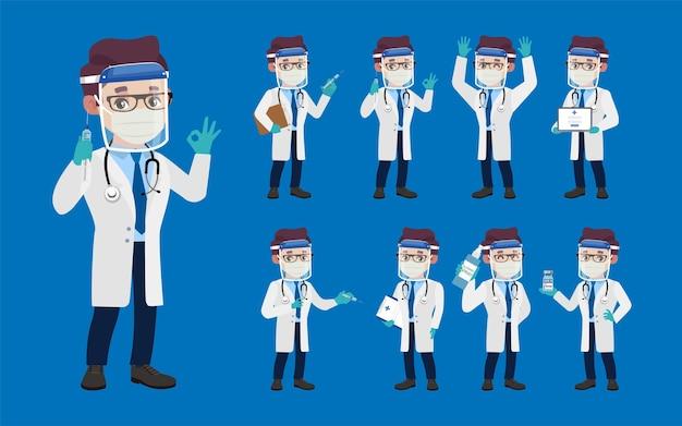 Dokter draagt beschermende suite om coronavirus te bestrijden
