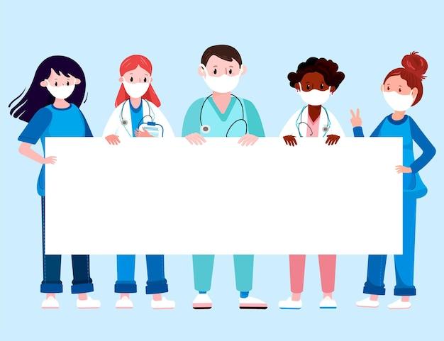 Dokter en verpleegster met masker vasthouden banner medische professionals in uniform verblijf met bord