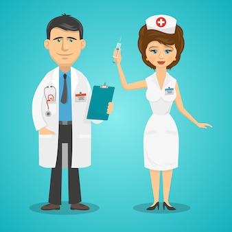 Dokter en verpleegster