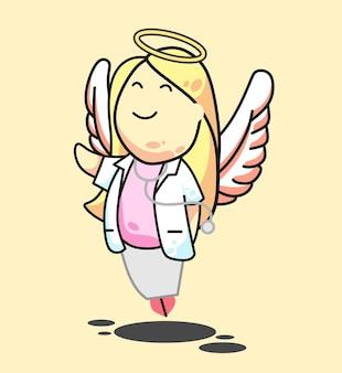 Dokter engel meisje lang haar roze vectorillustratie