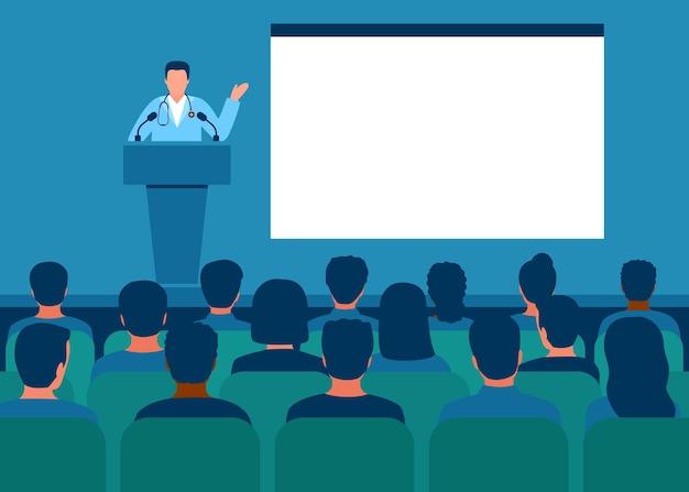 Dokter geeft medische toespraak op conferentie geneeskunde seminar van tribune voor publiek