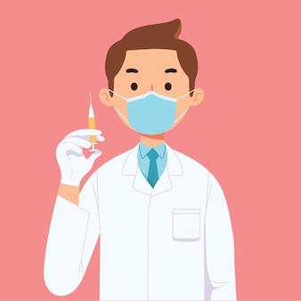 Dokter gezondheidswerker houdt covid corona vaccin spuit vast