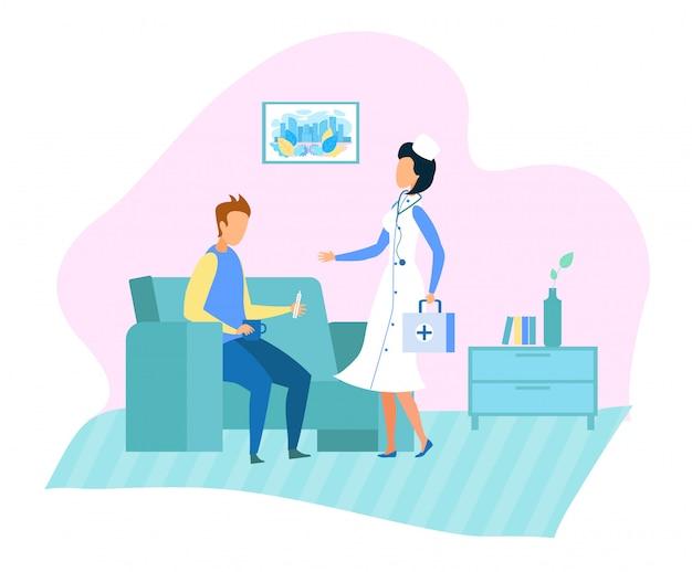 Dokter home bezoeken en medical services cartoon