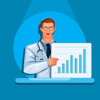 Dokter houdt bord analyseren statistiek medisch rapport wetenschapper avatar karakter illustratie vector