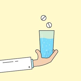 Dokter houdt glas met medicijnen vast. concept van frisdrank, hoofdpijn koorts genezing, eerste hulp, koolzuurhoudende vloeistof, farmaceutisch, ziek. vlakke stijl trend moderne logo ontwerp vectorillustratie op gele achtergrond