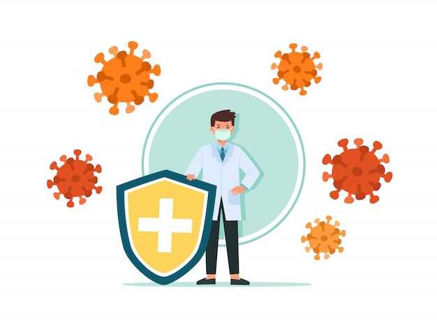 Dokter houdt schildbedekking tegen virussen en bacteriën. gezondheid bacteriën virusbescherming. gezonde arts weerspiegelt bacterieaanval met schild. boost immuniteit met geneeskunde concept illustratie.