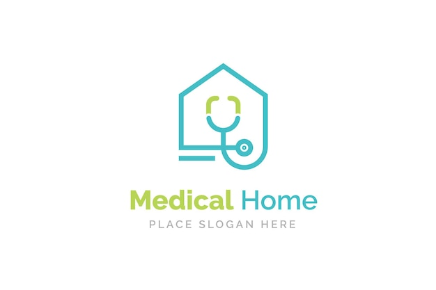 Dokter huis logo ontwerp met stethoscoop icoon Premium Vector