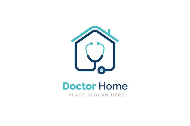 Dokter huis logo ontwerp met stethoscoop icoon