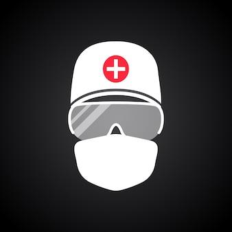 Dokter in beschermend pak en medisch masker