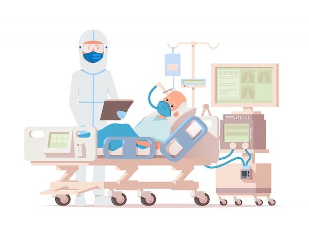 Dokter in het beschermende pak en masker onderzoekt de geïnfecteerde ouder wordende mannelijke patiënt in het controlegebied