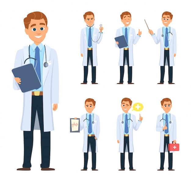 Dokter in verschillende poses