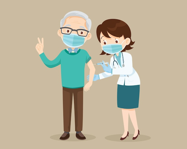 Dokter injectie coronavirusvaccin aan oudere man senior met gezichtsmasker met goed gebaar