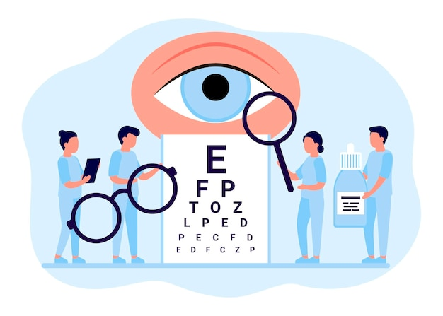 Dokter is controle oog visie onderzoek ogen mensen focus correctie behandeling oogheelkunde