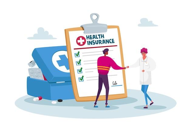 Dokter karakter hand schudden aan patiënt voorkant van enorme beleidsdocument document