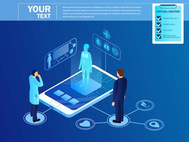 Dokter kijken op virtuele projectie van patiënt. sjabloon