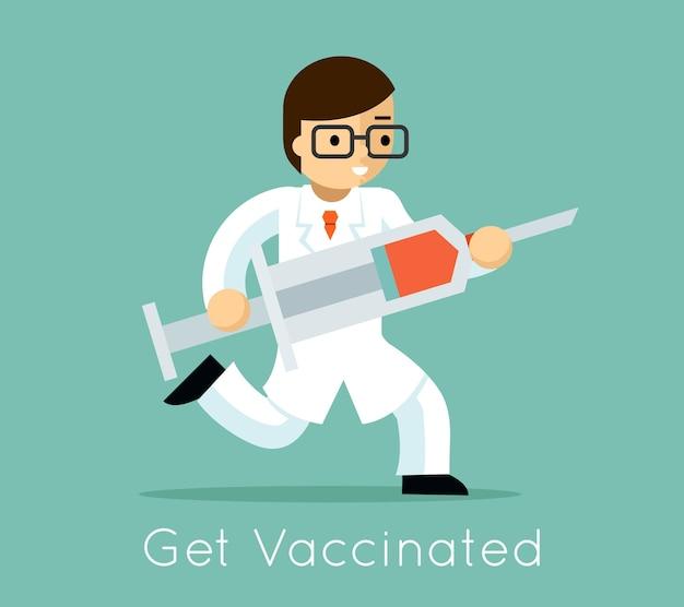 Dokter loopt met spuit. vaccinatie tegen virus, naald en medicijn, vectorillustratie