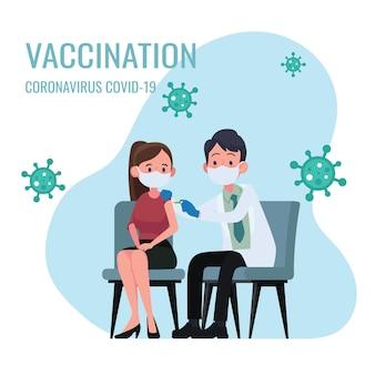 Dokter maakt een injectie van griepvaccin aan vrouwen in ziekenhuisillustratie