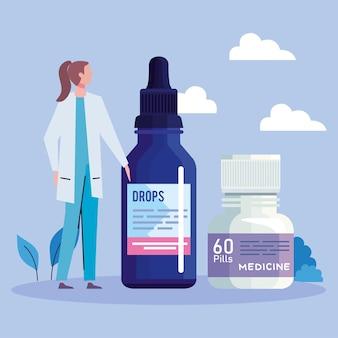 Dokter met pillen en druppelflesje Premium Vector