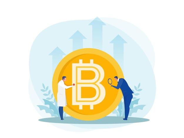 Dokter met stethoscoop voor financiële controle grote bitcoin.