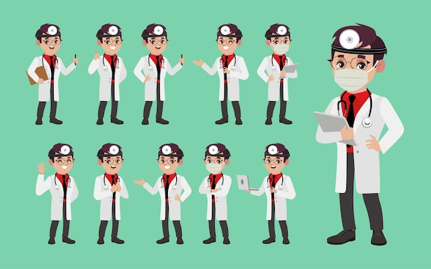Dokter met verschillende poses.