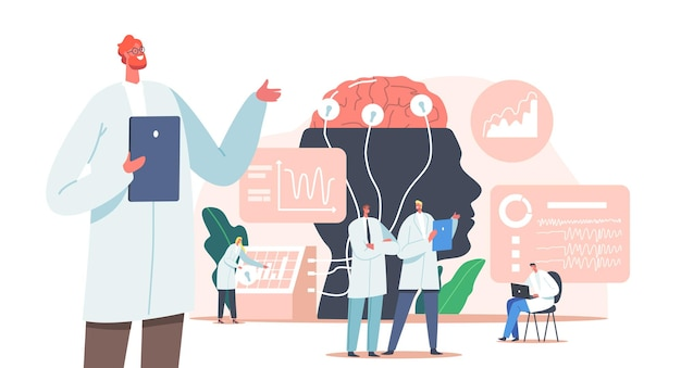 Dokter neuroloog, neurowetenschapper, arts karakters studie hersenen verbonden met display met eeg indicatie, neurologie