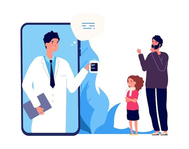 Dokter online. ziek meisje, vader en verpleegster via videoverbinding.
