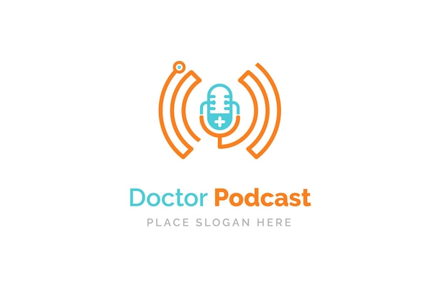 Dokter podcast logo ontwerp. stethoscoop en microfoon illustratie symbool.