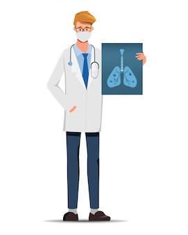 Dokter presenteert de röntgenfilms scannen naar de longen.