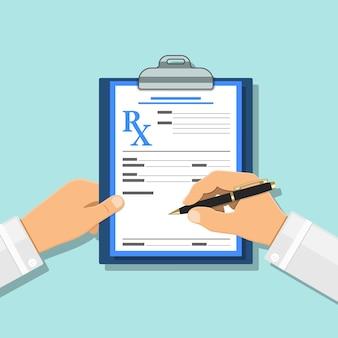 Dokter schrijft recept met pen op rx-formulier op klembord. medisch en gezondheidszorgconcept. platte stijliconen. geïsoleerde vectorillustratie