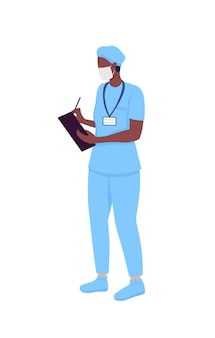 Dokter semi-egale kleur vector teken. stagiaire ziekenhuis. staande figuur. volledige lichaamspersoon op wit. geneeskunde geïsoleerde moderne cartoon stijl illustratie voor grafisch ontwerp en animatie