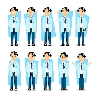 Dokter set illustratie, arts in cartoon stijl bezetting met verschillende gezichtsuitdrukkingen, emoties in verschillende acties, poses, met stethoscoop, in laboratoriumjas, medisch uniform. personage ontwerp.